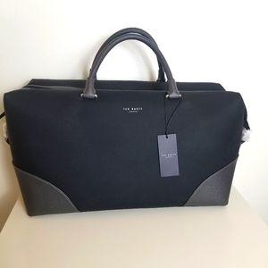 Ted Baker Nubuck Leather Carryall Duffle Bag Black